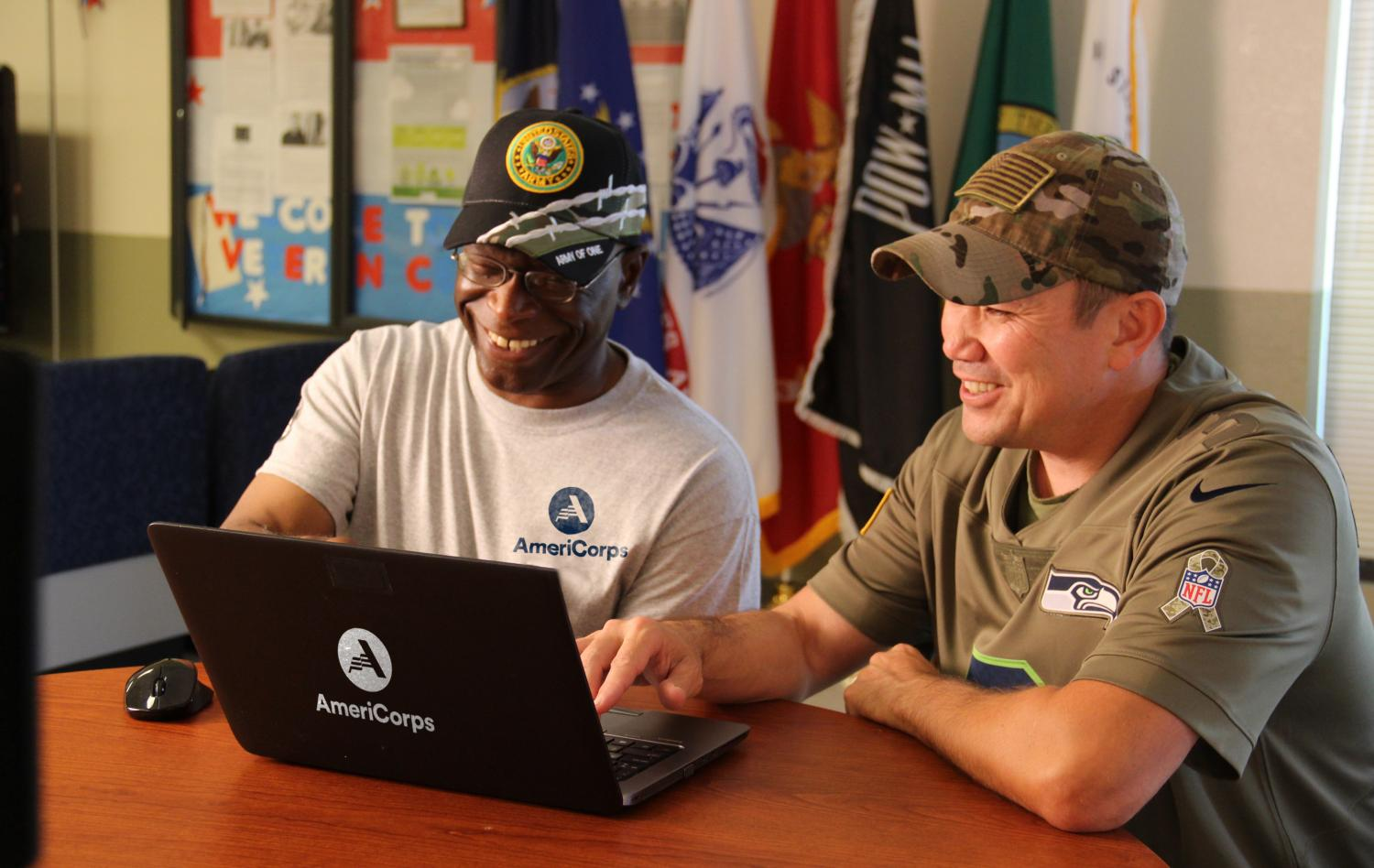 AmeriCorps member with veteran