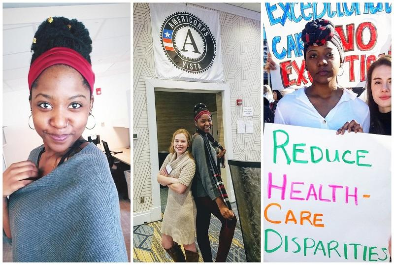 "collage: Luwi smiling, Luwi with fellow VISTA member, Luwi with sign that says ""reduce health care disparities"""